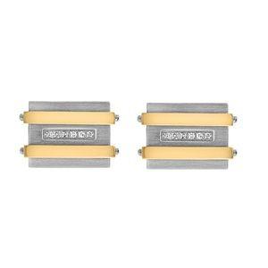 Two-Tone Yellow Diamond Stainless Cufflink